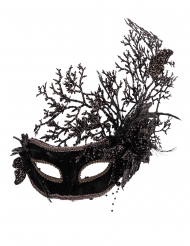 Hübsche venezianische-Augenmaske mit Blumen Halloween-Accessoire schwarz