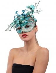 Extravagante Augenmaske mit Schmetterlingen Venezianische Maske blau