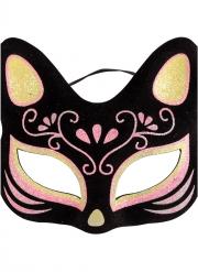 Glitzernde Katzenmaske Tier-Accessoire für Erwachsene schwarz-pink-goldfarben