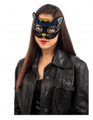 Funkelnde Katzenmaske für Erwachsene Accessoire schwarz-blau-goldfarben