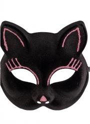 Stilvolle Katzenmaske für Erwachsene Kostüm-Zubehör schwarz-pink