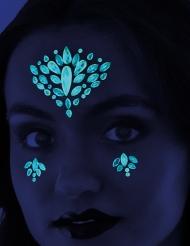 Tattoos fürs Gesicht Nachtleuchtend und Selbstklebend blau