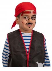 Wilde Piraten-Klebetattoos für Kinder Fasching schwarz-rot