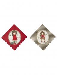 Ruby Santoro™-Papierservietten Party-Zubehör 8 Stück rot-braun 33x33cm