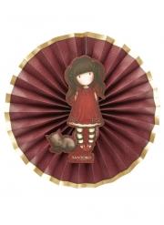 Ruby Santoro™-Fächer Partyzubehör Animation 3 Stück rot-gold