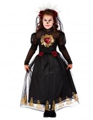 Königliches Tag der Toten-Kostüm für Mädchen Halloween-Kostüm schwarz-gold-rot