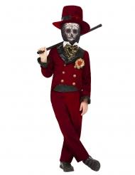 Dia de los muertos-Kostüm Bräutigam für Jungen Halloween-Verkleidung rot-schwarz