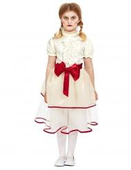 Horror-Puppe Porzellan für Halloween Mädchen-Kostüm weiss-rot
