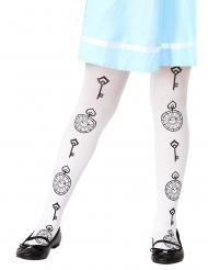 Alice-Strumpfhose für Kinder weiss-schwarz