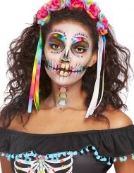 Kunterbuntes Skelett-Make-up mit Haarband für Halloween bunt