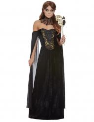Gothic-Gräfin Damenkostüm für Halloween schwarz-goldfarben