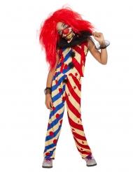 Horrorclown für Mädchen Halloween-Verkleidung rot-blau-beige