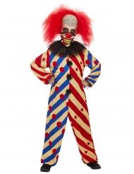 Horrorclown-Kostüm für Jungen Halloween-Verkleidung blau-rot