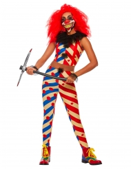 Killerclown-Damenkostüm für Halloween Clownkostüm blau-weiss-rot