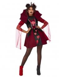 Sexy Herzkönigin-Kostüm für Damen Halloween-Verkleidung schwarz-rot