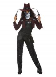 Düsteres Cowgirl-Kostüm für Halloween Damenkostüm schwarz-rot-weiss