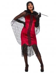 20er-Jahre Vampir-Damenkostüm für Halloween schwarz-weiss
