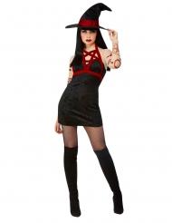 Satan-Hexe Damenkostüm für Halloween schwarz-rot