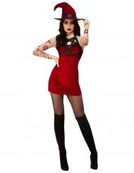 Satanistisches Hexenkostüm für Damen Halloween schwarz-rot
