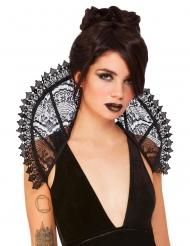 Verführerischer Spitzenkragen für Damen Kostüm-Accessoire Halloween schwarz