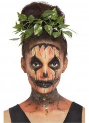 Schickes Kürbis-Make-up mit Blätterschmuck Halloween-Accessoire orange-schwarz-grün