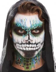 Galaktisches Skelett-Make-up Halloween-Schminke schwarz-weiss-blau