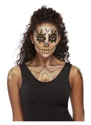 Prachvolles Make-up mit Schmuck-Set für Damen gold-schwarz-weiss