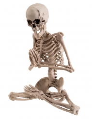 Skelett in Yogapose Raumdeko für Halloween beigefarben 18 cm