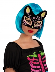 Asiatisch inspirierte Katzen-Maske schwarz-gold-rosa