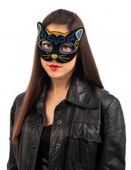Katzen-Maske Kostüm-Accessoire für Erwachsene Halbmaske schwarz