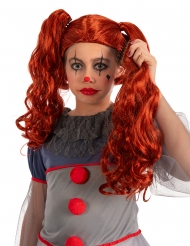 Horrorclown-Perücke für Kinder mit abnehmbaren Zöpfen orangefarben