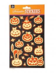 Kürbis-Sticker leuchtend Halloween-Zubehör 20 Stück orange
