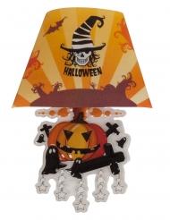 Interessante Kürbis-Leuchte für Halloween Raumdeko orange-schwarz-weiss 22 cm