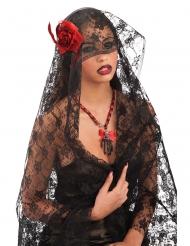 Spitzen-Schleier Gothic-Accessoire schwarz-rot