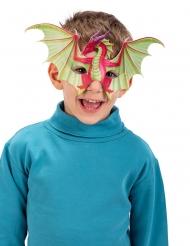 Drachen-Maske Halbmaske für Kinder Kostüm-Zubehör grün-rot