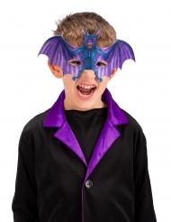 Halbmaske Fledermaus Kinder-Accessoire für Halloween blau-violett
