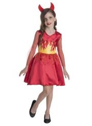Freche Teufelin Mädchenkostüm für Halloween rot-gelb