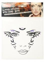 Stilvolle Fledermaus-Tattoos für Halloween Gesicht-Tattoos schwarz-violett