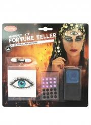 Schauriges Wahrsager-Make-up-Set für Halloween Erwachsene 4-teilig bunt