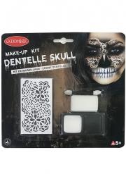Kreatives Totenschädel-Make-up-Set mit Schablone Halloween weiss-schwarz