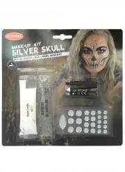 Totenschädel-Make-up für Halloween silberfarben