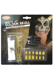 Schauriges Totenkopf-Make-up für Halloween goldfarben