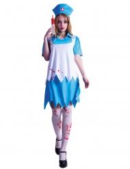 Blutige Zombie-Krankenschwester blau-weiss