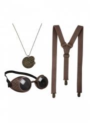 Steampunk-Set Kostüm-Accessoires für Halloween braun-gold