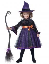 Süsse Hexe Kostüm für Kinder Halloweenkostüm violett-schwarz-orange