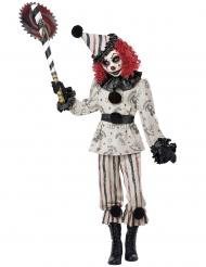Schauriges Clown-Kostüm für Kinder Halloween-Verkleidung schwarz-weiss-rot