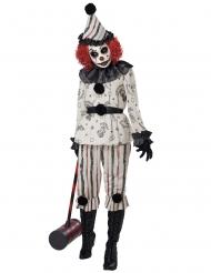 Düsteres Clownkostüm für Halloween Damenkostüm weiss-schwarz