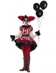 Freches Clownskostüm für Mädchen Horrorclown rot-weiss-schwarz