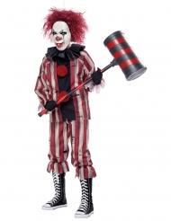 Freches Clownskostüm für Kinder Horrorclown rot-weiss-schwarz