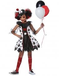 Verrüchtes Horrorclown-Kostüm für Mädchen schwarz-weiß-rot